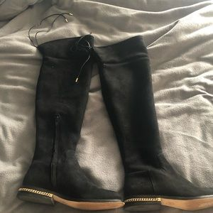Michael Kors Over The Knee Black Suede Boots